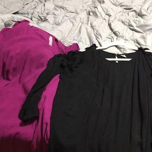 EUC 2 for 1 matching ruffle, cold shoulder shirts